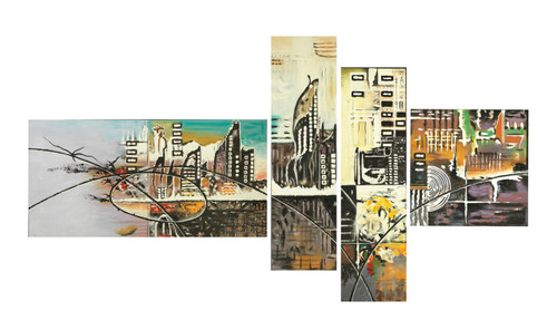 beautiful multipiece paintings,abstract multipiece paintings,The City Scape,FR_1523_13193,Artist : Community Artists Group,Acrylic