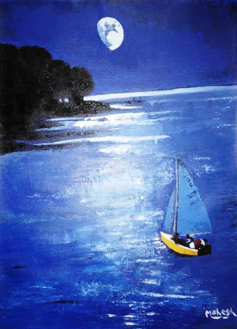 cityscape, sports, water, sea, boat, ship, moon, night, dark,Moon,ART_335_6286,Artist : MAHESH BOMMANALLI,Acrylic