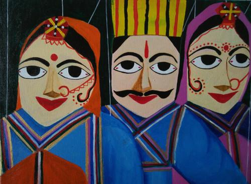 ,Rajasthani Puppets,ART_1243_11586,Artist : Ujwala Chavan,Acrylic