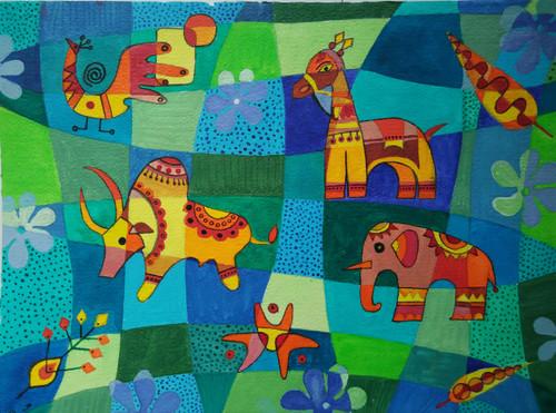 ,Tribal Art 2,ART_1243_13530,Artist : Ujwala Chavan,Acrylic