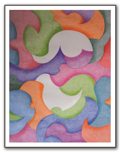 PAINTINGS-COLOUR PAINCIL-PAPER-ABSTRACT,ABSTRACT 01,ART_1609_13548,Artist : Santosh  Dangare,Pencil