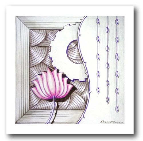 painting-pencil-paper--ABSTRACT,LOTUS BEAUTY-04,ART_1609_13587,Artist : Santosh  Dangare,Pencil