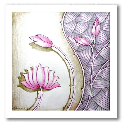painting-pencil-paper--ABSTRACT,LOTUS BEAUTY-01,ART_1609_13586,Artist : Santosh  Dangare,Pencil