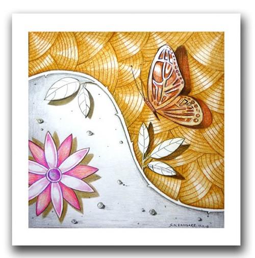 painting-pencil-paper--ABSTRACT,LOTUS BEAUTY-03,ART_1609_13584,Artist : Santosh  Dangare,Pencil