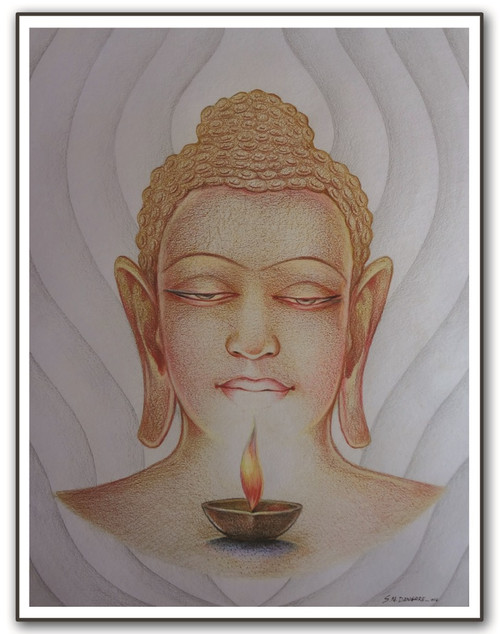 painting-pencil-paper--FIGURATIVE,BHUDHA LIGHT,ART_1609_13573,Artist : Santosh  Dangare,Pencil