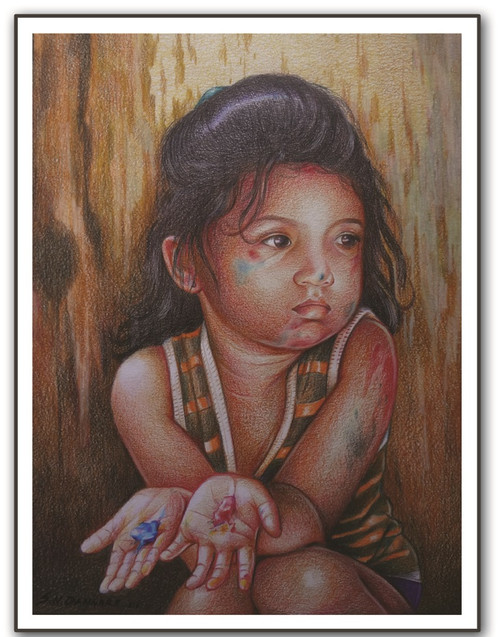 painting-pencil-paper--FIGURATIVE,HOLI  GIRL,ART_1609_13572,Artist : Santosh  Dangare,Pencil