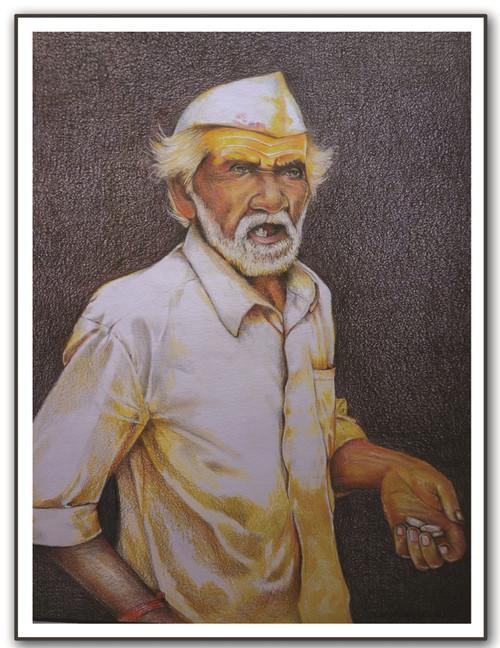 PAINTING-PANCIL-PAPER-FIGURATIVE,BHANDARA ,ART_1609_13570,Artist : Santosh  Dangare,Pencil