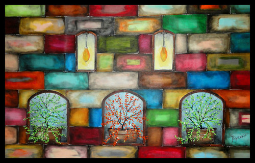 acrylic, colorful, plants, lights,artistic wall,ART_1415_13596,Artist : Priyanka Doiphode,Acrylic