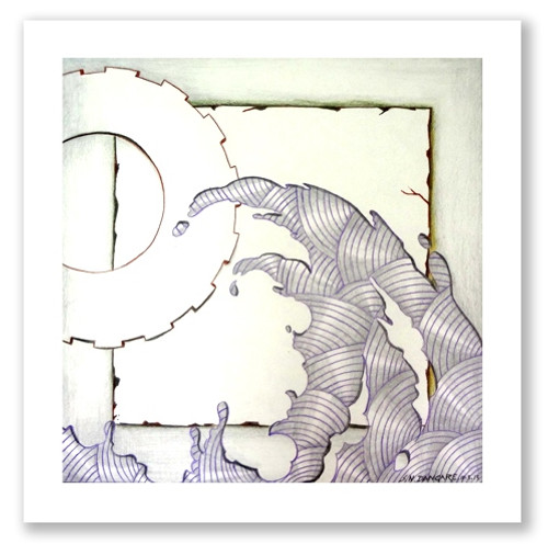 painting-pencil-paper--ABSTRACT,MOON WEVES,ART_1609_13591,Artist : Santosh  Dangare,Pencil