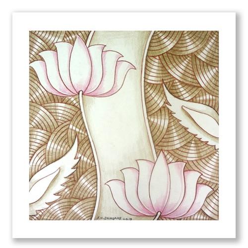 painting-pencil-paper--ABSTRACT,LOTUS BEAUTY-07,ART_1609_13590,Artist : Santosh  Dangare,Pencil