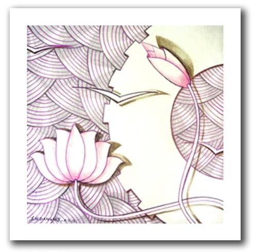 painting-pencil-paper--ABSTRACT,LOTUS BEAUTY-06,ART_1609_13589,Artist : Santosh  Dangare,Pencil