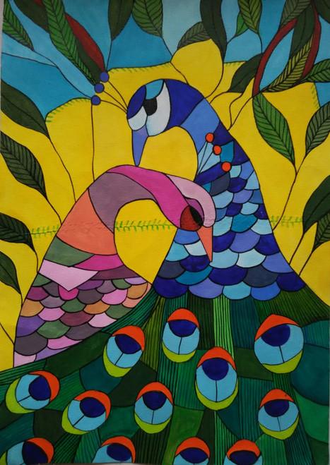 ,peacock2,ART_1243_13627,Artist : Ujwala Chavan,Acrylic