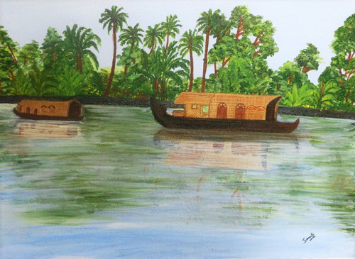Houseboat, Backwaters,Backwaters,ART_782_13629,Artist : SMRITI CHAURASIA,Acrylic