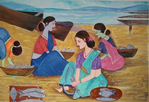 ,Fish Market,ART_1243_13637,Artist : Ujwala Chavan,Acrylic