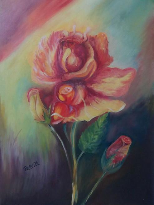 floral, rose, flower,Birth Of A Baby,ART_1554_13640,Artist : Ratan  Kumar Debnath,Oil