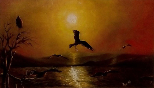 Sunset, birds,Sunset Beauty Over The Sea,ART_479_13638,Artist : LOSO A PAO,Oil