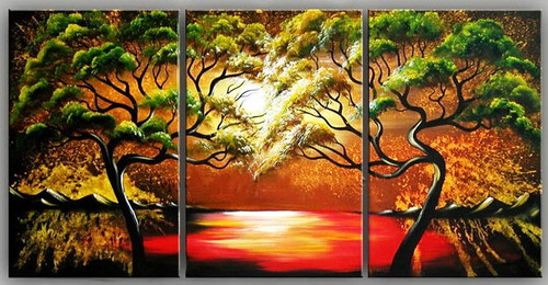 Trees at Sunset - 60in x 30in (20in x 30in X 3pc),RTCS_14_6030,Oil Colors,Canvas,60in X 30in,multipiece,Museum Quality - 100% Handpainted,multipiece paintings