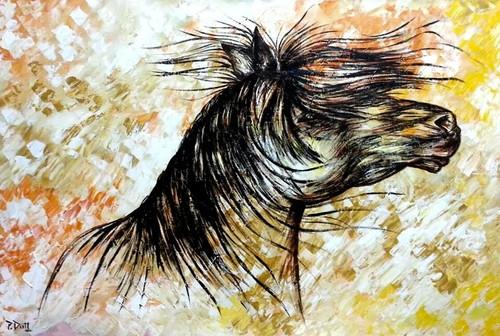 Horse, Fusion, Textured background, yellow and orange,Attitude,ART_1316_11286,Artist : Priyanka Dutt,Acrylic