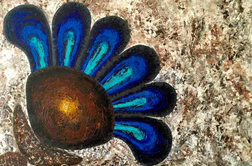 Abstract, abstract floral, Floral, Blue and brown,Balance,ART_1316_11252,Artist : Priyanka Dutt,Acrylic