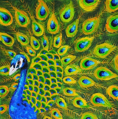 Peacock, Blue,Peacock,ART_1316_13701,Artist : Priyanka Dutt,Acrylic