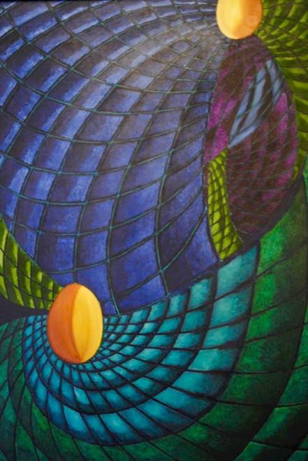 blue, Green,Swirl,ART_1316_13700,Artist : Priyanka Dutt,Oil
