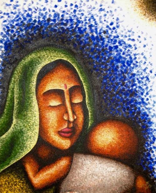 Contentment, Love, Tribal, Blue,Love,ART_1316_13699,Artist : Priyanka Dutt,Acrylic
