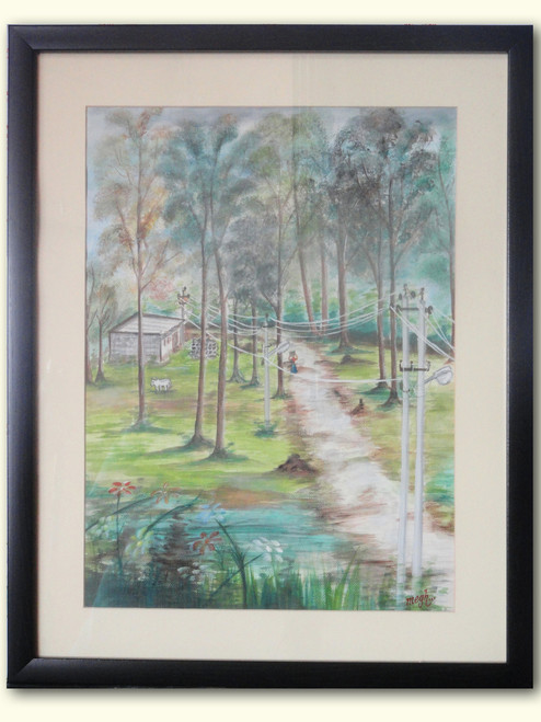 calm,village,tree,peaceful,relaxing,Village landscape with Nilgiri trees and Green  Field,ART_325_11483,Artist : Meghna Parmar,Water Colors
