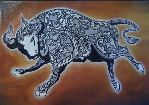 acrylic background, Unique, Bull, Ultramarine blue, Zentangle art, Doodle art, golden cage, fine work, pen work, famous, incredible,Zentangle Bull,ART_1245_13789,Artist : Shubhangi Khot,Acrylic