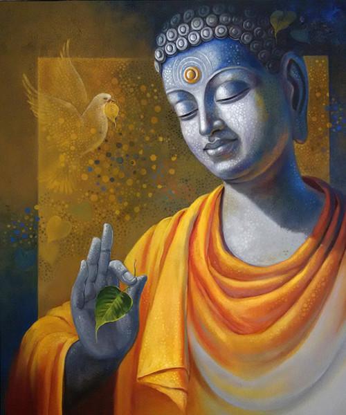 Budhha Wisdom Art 1666 13787 Handpainted Art Painting 30in X 36in
