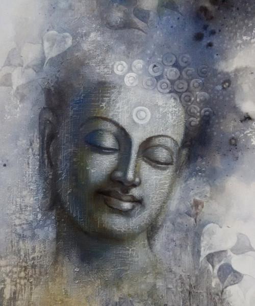 God,Buddha,Buddhism,Wall Decor,Acrylic,Canvas,Figurative,original  ,buddha mindfulness,ART_1666_13785,Artist : Sanjay Lokhande,Acrylic