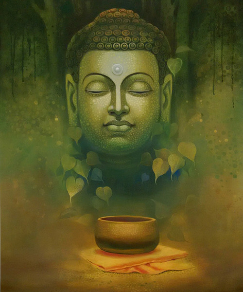 God,Buddha,Buddhism,Wall Decor,Acrylic,Canvas,Figurative,original  ,buddha dhyana,ART_1666_13784,Artist : Sanjay Lokhande,Acrylic