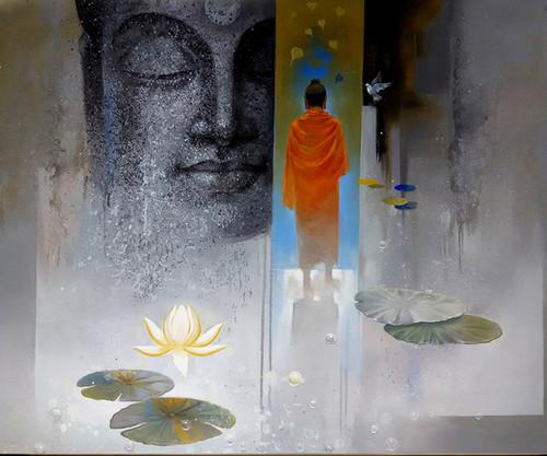 God,Buddha,Buddhism,Wall Decor,Acrylic,Canvas,Figurative,original  ,buddha breathing,ART_1666_13783,Artist : Sanjay Lokhande,Acrylic