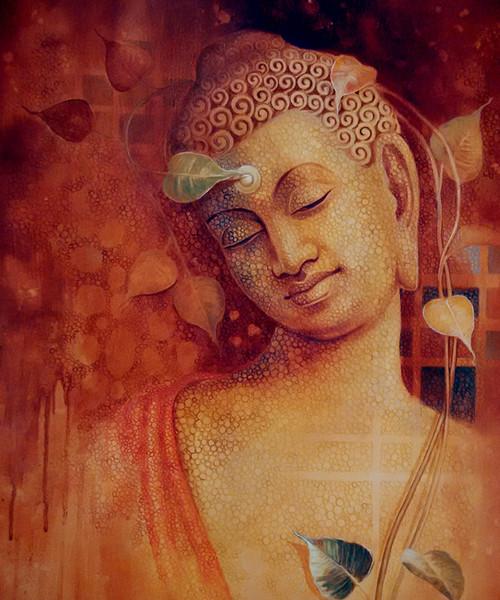 Buddha Bhavana Art 1666 13782 Handpainted Art Painting 30in X 36in