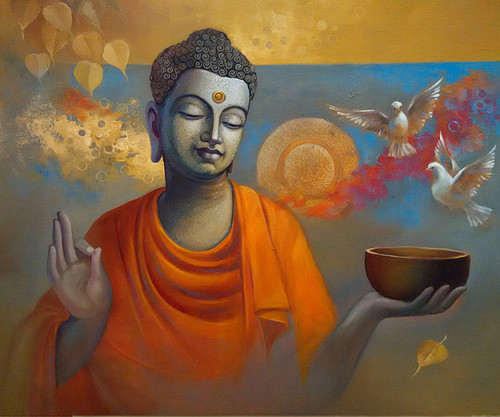 God,Buddha,Buddhism,Wall Decor,Acrylic,Canvas,Figurative,original  ,buddha Ananda,ART_1666_13781,Artist : Sanjay Lokhande,Oil