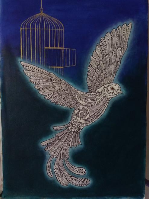 Unique, Free bird, bird, Ultramarine blue, Zentangle art, Doodle art, golden cage, fine work, pen work, famous, incredible, beautiful,Zentangle Free Bird,ART_1245_11155,Artist : Shubhangi Khot,Acrylic