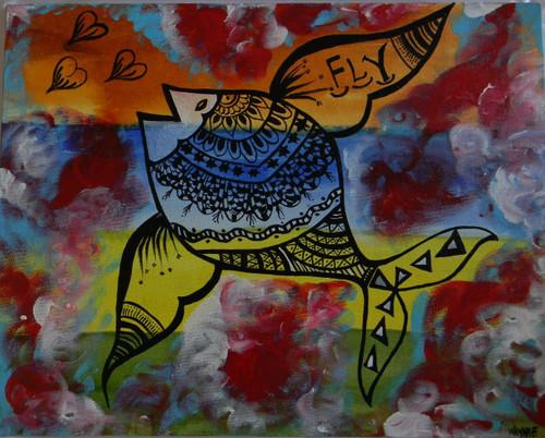 Fish, Fly, High, Do it!,Fly,ART_1670_13805,Artist : Winnie Joshi,Acrylic