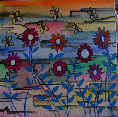 Flower,  Happiness,Untraditional,ART_1670_13800,Artist : Winnie Joshi,Acrylic
