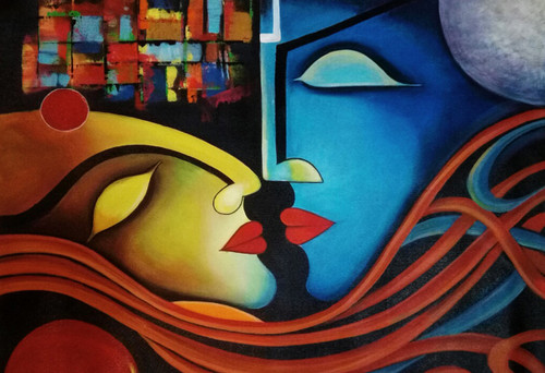 romance, love, couple, abstract, acrylic, passion, moon, living roo, dining area, bedroom, lobby,deep, strong, beautiful,The Love: Deep Strong Pure  Feeling,ART_1669_13808,Artist : Neha Jain,Acrylic