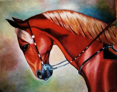 red horse, realism, acrylic,Power, success,strength,animal,drwaing roo, lobby, living room, office,Red Horse:Symbol Of Power & Success,ART_1669_13797,Artist : Neha Jain,Acrylic