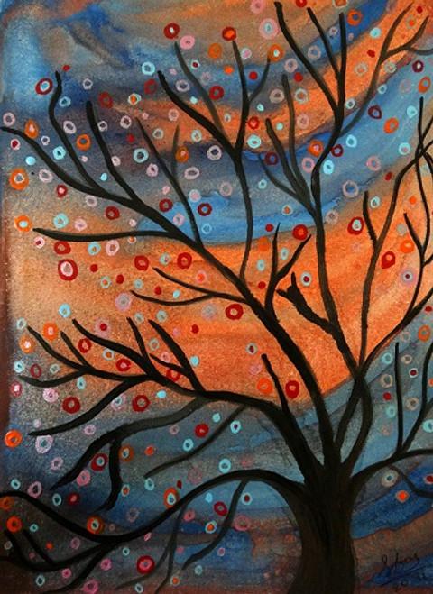 nature, autumn, tree, coloured, orange,Autumn came,ART_1664_13796,Artist : SHAILEYEE  DAS,Poster Colors