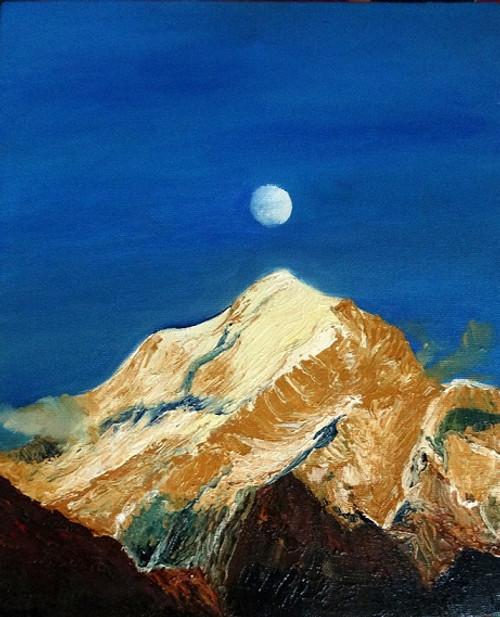 Mountains, Moon, Clear Sky, Small Clouds, Mountain peak,Kinnaur Kailash Range with Full Moon,ART_1664_13780,Artist : SHAILEYEE  DAS,Oil