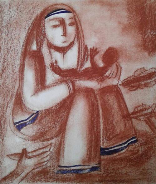 binod kumar das, mother, love,MOTHER,ART_1667_13843,Artist : BINOD KUMAR  DAS,Pastels