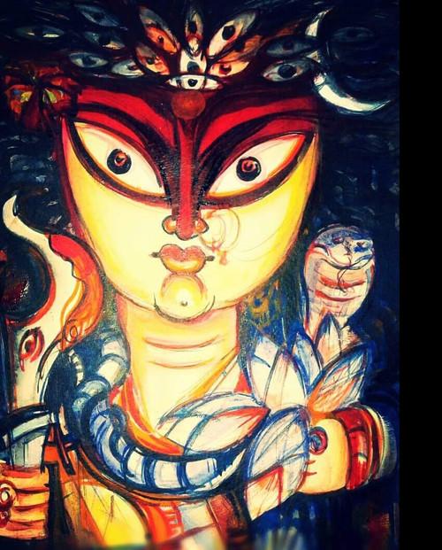 durga, mix media, feminine,,Durga,ART_1667_13838,Artist : BINOD KUMAR  DAS,Mixed Media