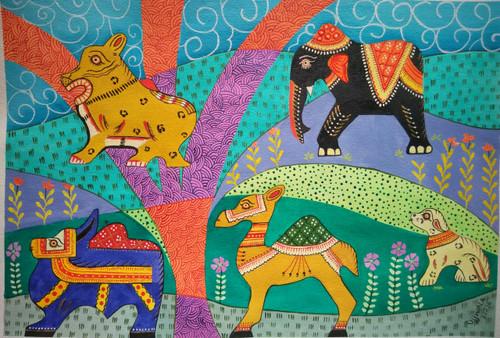 ,tribal art-Animals,ART_1243_13828,Artist : Ujwala Chavan,Acrylic