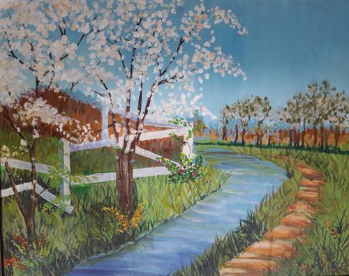 Landscape,trees, forest, river, mountains,River and Greens,ART_1537_13823,Artist : Shabana  Rangila,Acrylic