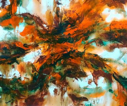 ,Flowerburst (Marigold),ART_1677_13864,Artist : Kaustav Mukherjee,Acrylic