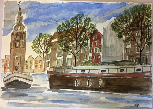 ,Canals of Amsterdam,ART_1683_13863,Artist : Divya Mehta,Water Colors