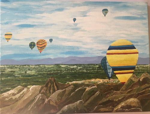 Mountains,Hot Air Balloons in Cappadocia,ART_1683_13855,Artist : Divya Mehta,Acrylic