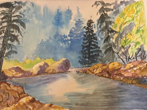 water, landscape, freestyle watercolour, tree, rocks,freehand landscape,ART_1283_13885,Artist : Alisha Gupta,Water Colors