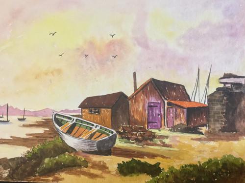 tree, nature, landscape, forest, sea, water, boat, hut,by the sea,ART_1283_13880,Artist : Alisha Gupta,Water Colors